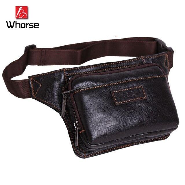 Logotipo de la marca! cuero genuino de la vendimia bolsa de mensajero del zurriago hombres cartera cinturón de cintura bolsas de viaje paquete de pecho para hombre WB8308