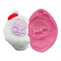 סנטה קלאוס תבנית יצק כלי אפיית שוקולד לקישוט עוגת חג מולד סיליקון תבניות עוגת עובש סבון כלי SM-028