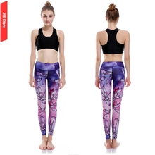 Jis mujeres yoga pantalones púrpura mujeres gimnasio leggings imprimir libélula chica gym pantalones ropa deportiva mujer