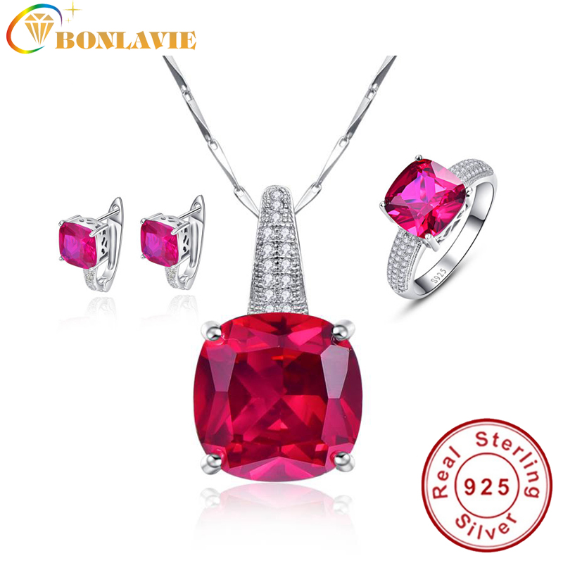 BONLAVIE Rose Red Ruby Exquisite Fashion Jewelry Sets 925 Silver Clip Earrings/Pendant Necklace/Ring For Women Free Jewelry Box viennois new blue crystal fashion rhinestone pendant earrings ring bracelet and long necklace sets for women jewelry sets