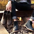 High Top Thread Casual British Style Flatform Bandage Hot Footwear Real Nubuck Leather Work Men Ankle Desert Safety Boots