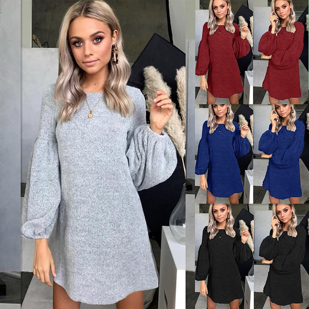Women Sexy O Neck Lantern Sleeve Knitted Sweater Mini Dress 2020 Elegant Antumn Winter Long Sleeve Casual Solid Dresses Vestidos