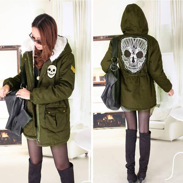ФОТО Hot! Brand New 2013 Thick Warm Sheep Wool Lining Wadded Jacket Skull Parka Winter Women Army Green Cotton-Padded Jacket B1621