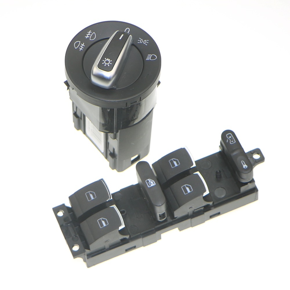 SJACCM Chrome Car Headlamp Switch + Window Master Button 3BD 959 857 For Bora Golf Jetta MK4 Passat B5 B5.5 3BD 941 531 A car headlight adjuster moto for passat b5 3b 2001 2005 stepping motor for mk5 b5 headlight level adjustment motor 3bd 941 295