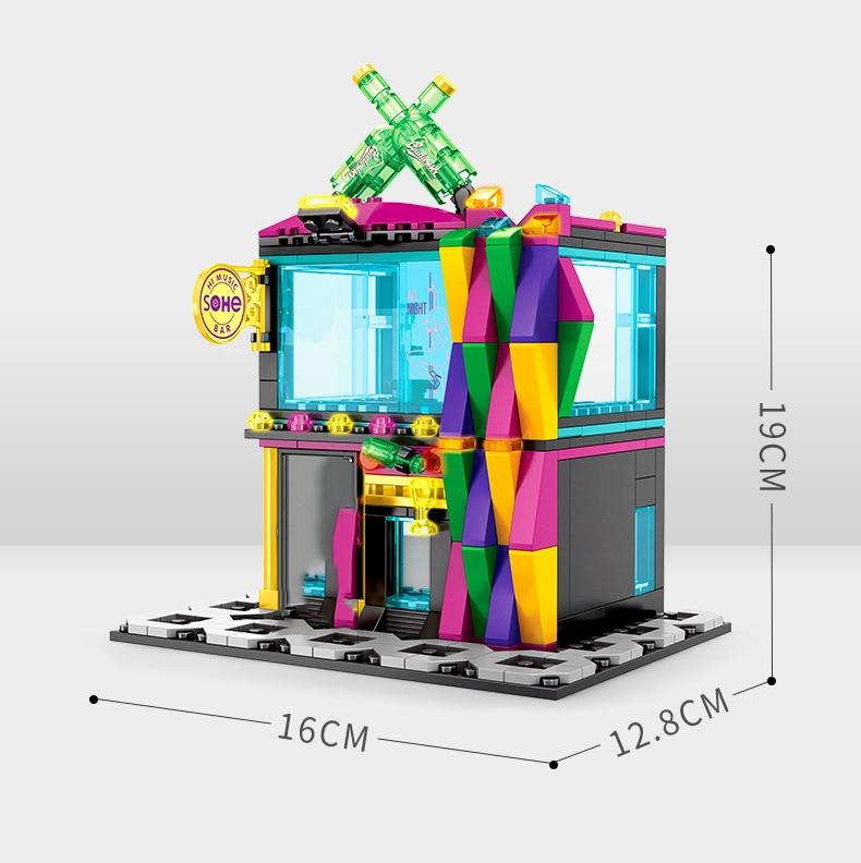 Street Hamburger Cafe Retail Convenience Store Architecture Building Blocks Compatible Legoed Technic City Street View Brick Toy 39