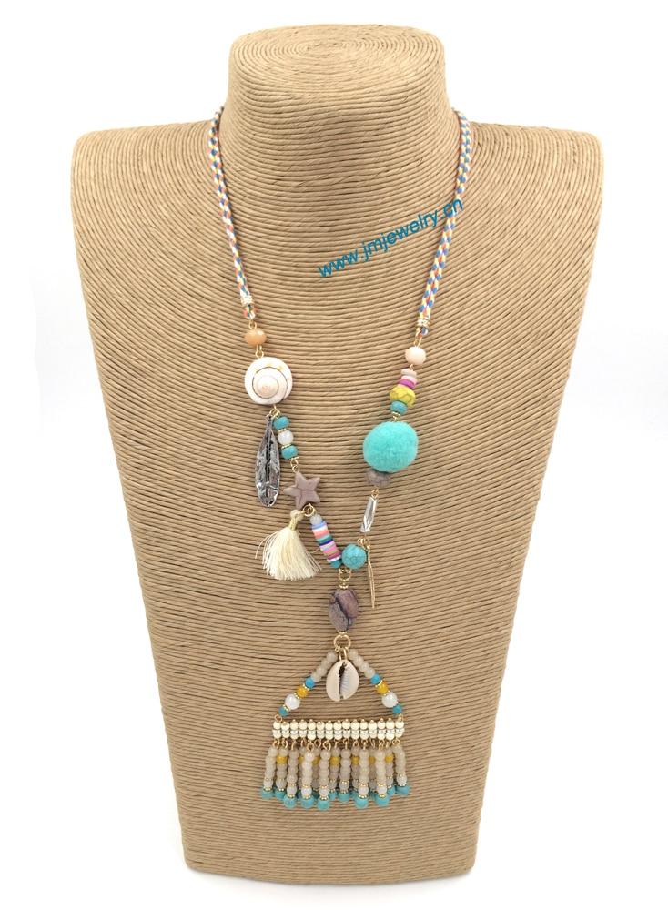 2015New personalizado fornecedor de jóias artesanais frisado boho fringe pingente longos Colares para as mulheres