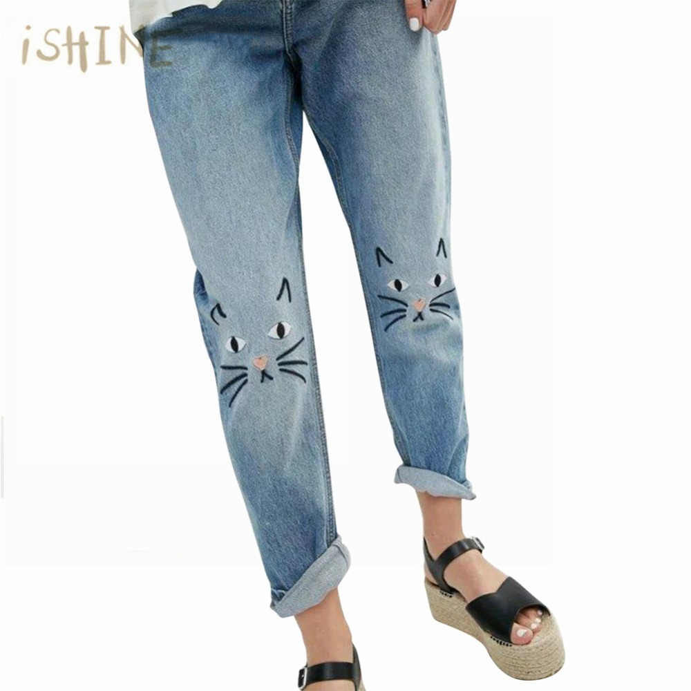 Embroidered Cartoon Cat Jeans Woman 2017 New Brand Spring Straight Jeans Women Casual Denim Pants European Femme Trousers free shipping 2016 spring cartoon children jeans boys and girls pants embroidered denim trousers korean children jeans wa05