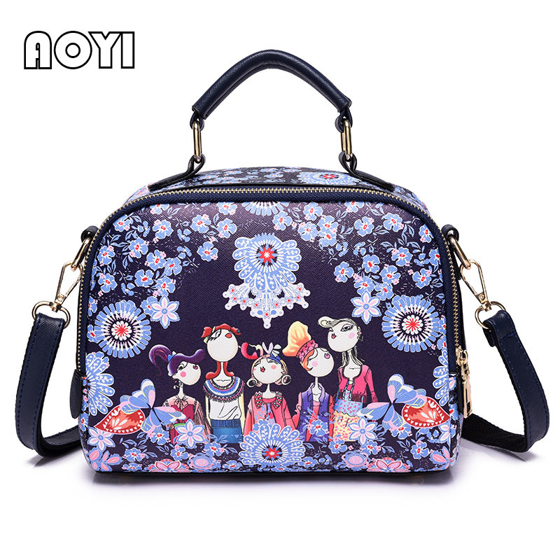 AOYI 2018 Cartoon Designer Women Handbag Luxury Famous Brand Women Shoulder  Bag High Quality Female PU Leather Crossbody Bags 32860f7c40d