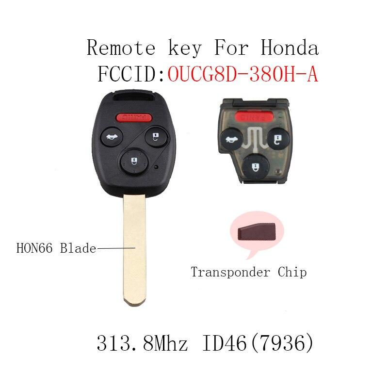 313,8 мГц 3 + 1 кнопка транспондер чип ID46 удаленной машине ключа для Honda Accord 2003-2007 Автозапуск запись оригинальный ключ