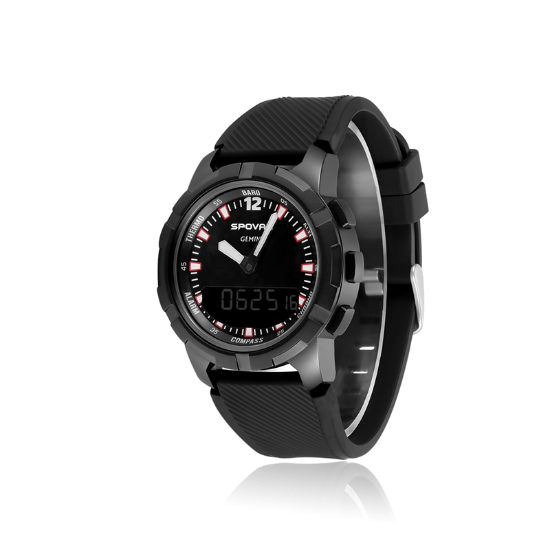 SPOVAN New GEMINI Double Display Watch With Compass Waterproof LED Backlight