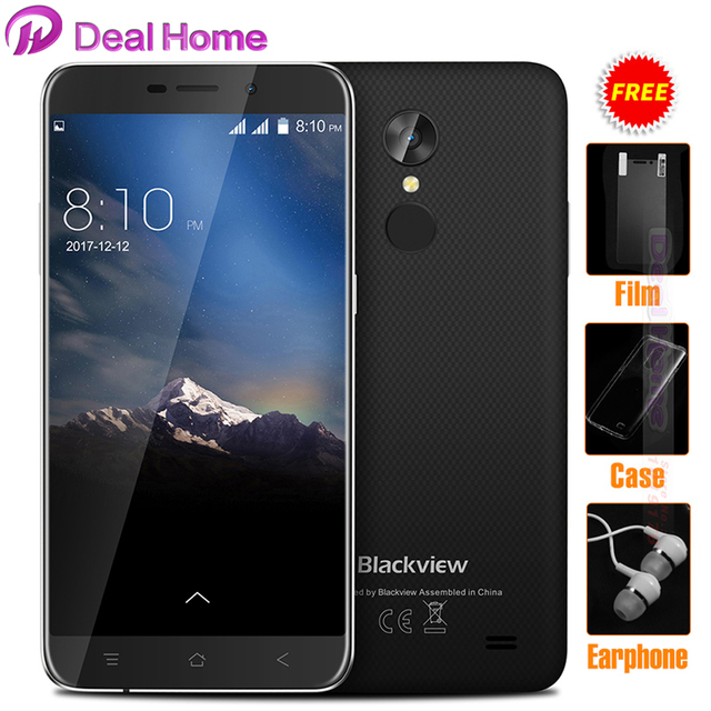 "Original Blackview A10 WCDMA Mobile phone 5.0""HD 2GB+16GB Android 7.0 MT6580A Quad Core 8MP Rear Fingerprint Unibody smartphone"