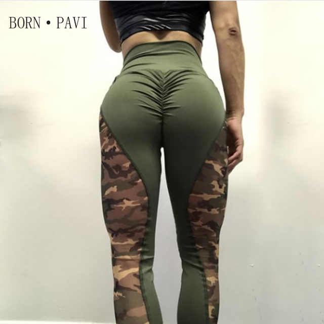 BORNPAVI Leggings For Women Fashion Camouflage Printing High Waist Casual Military Sexy Hips Push Up Workout Fitness For Leggins