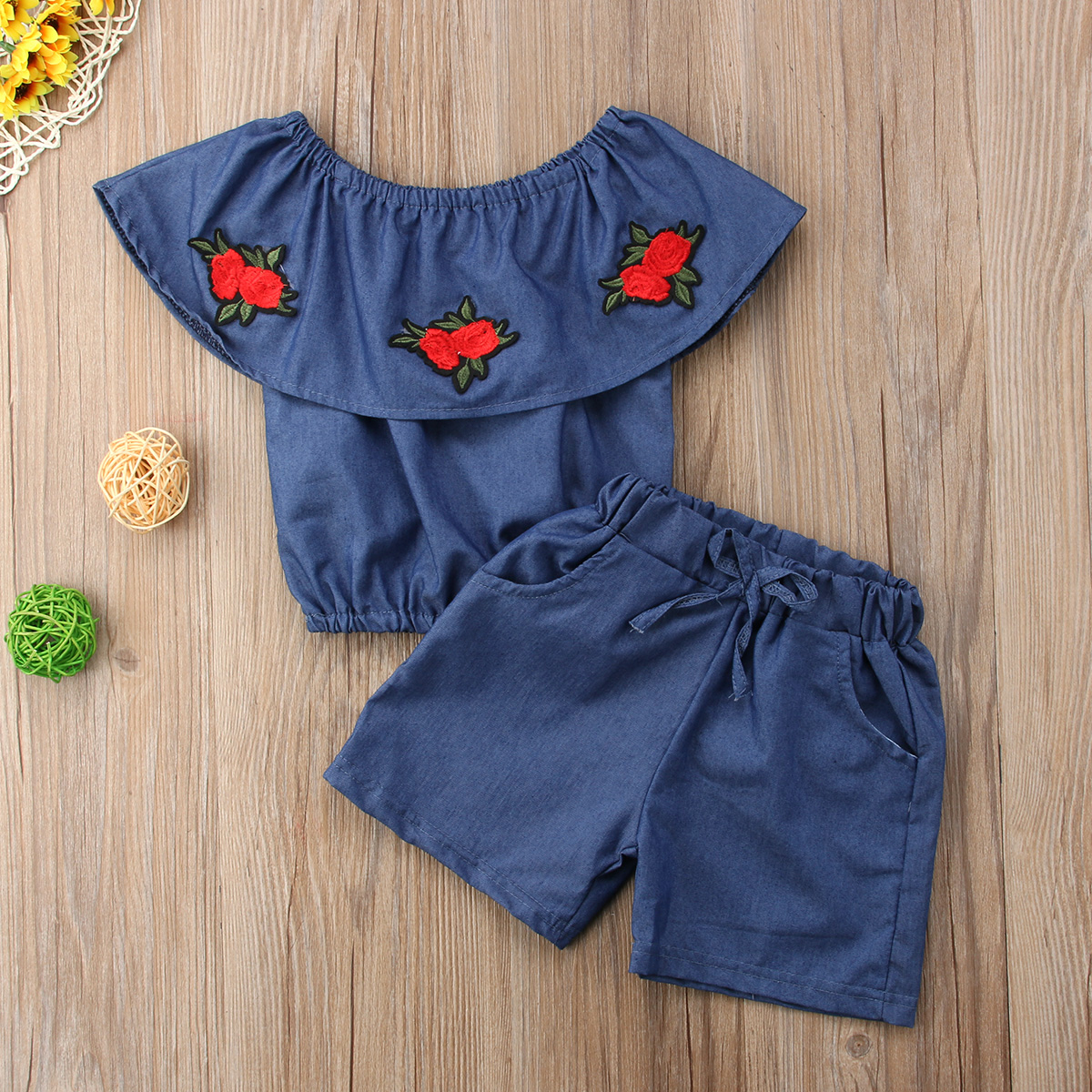 Kids Baby Girls Denim Off Shoulder Sleeveless Tops Embroidery Floral T shirt Short Pants Outfit Sunsuit Summer Set 2019 in Clothing Sets from Mother Kids