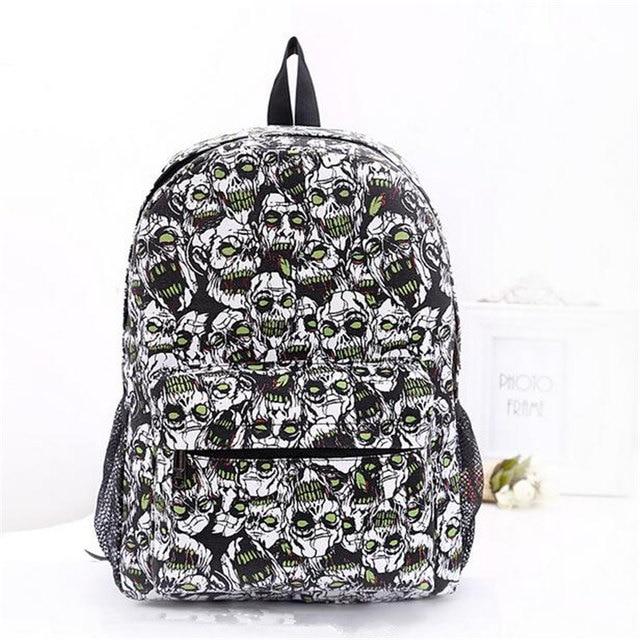 2017 Famous Designer Zombie Graffiti Canvas Backpacks Teenagers Fashion Printing Large School Bag Men Casual Travel Bag Mochila