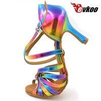 משלוח חינם סלסה הלטינית evkoodance גברת קשת צבע 2017 עור נשים נעלי ריקוד לטיני סלוניים העקב 8.3 ס