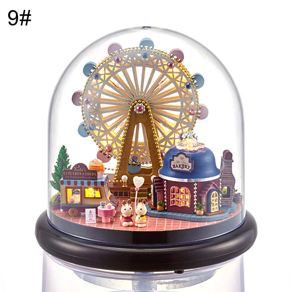 Girls toys DIY Transparent Cover Miniature Dollhouse Wooden Mini House Toy with Furniture Kids Toys