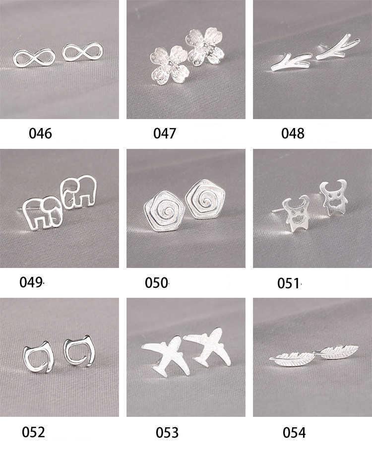 Real 925 Sterling Silver Stud Earrings for Women Girls  sterling-silver-jewelry brincos oorbellen aros de plata 925