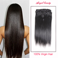 HOT 7A Human Natural Mink Brazilian Remy Human Hair Clip In Human Hair Extension Brazilian Virgin Hair Straight African American