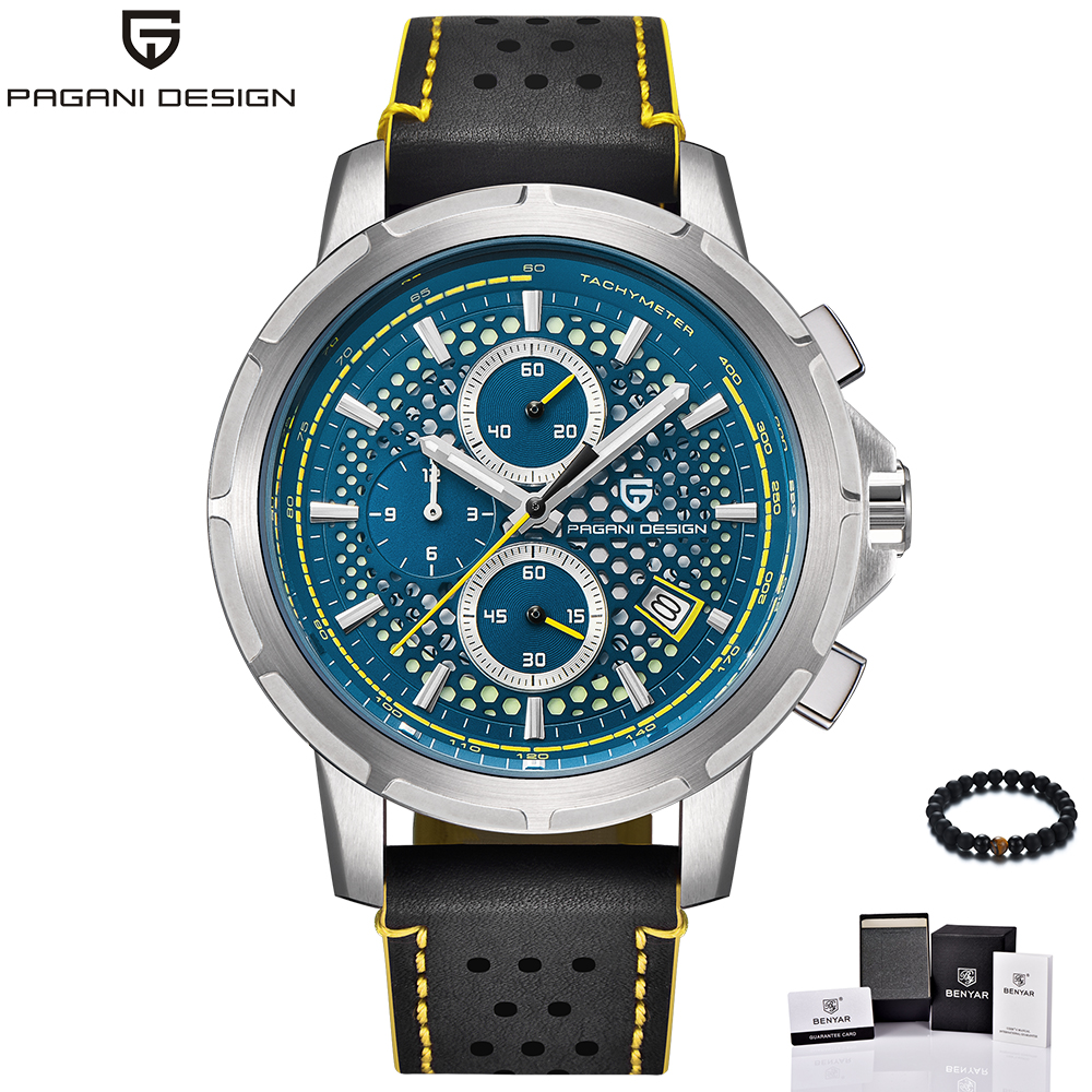 PAGANI Design Fashion Blue Big Dial Military Sport Watch Men Quartz Wrist Watch Luminous Chronograph Clock Men reloj hombre 2018 gift hot crazy selling army leather belt table trend of retro fashion blue big dial quartz watch clock men military sport watch