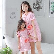 Parent-Child Summer Pajamas Dress Girls Cotton Home Clothes Thin Cartoon Mother-daughter Dresses Princess Sleepwear