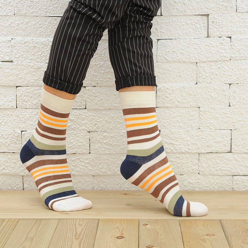PEONFLY2018 Casual Mens Socks Chromatic Stripe 5 Pairs Of Socks Man With The Final Design Clothing Fashion Designer Style Cotton