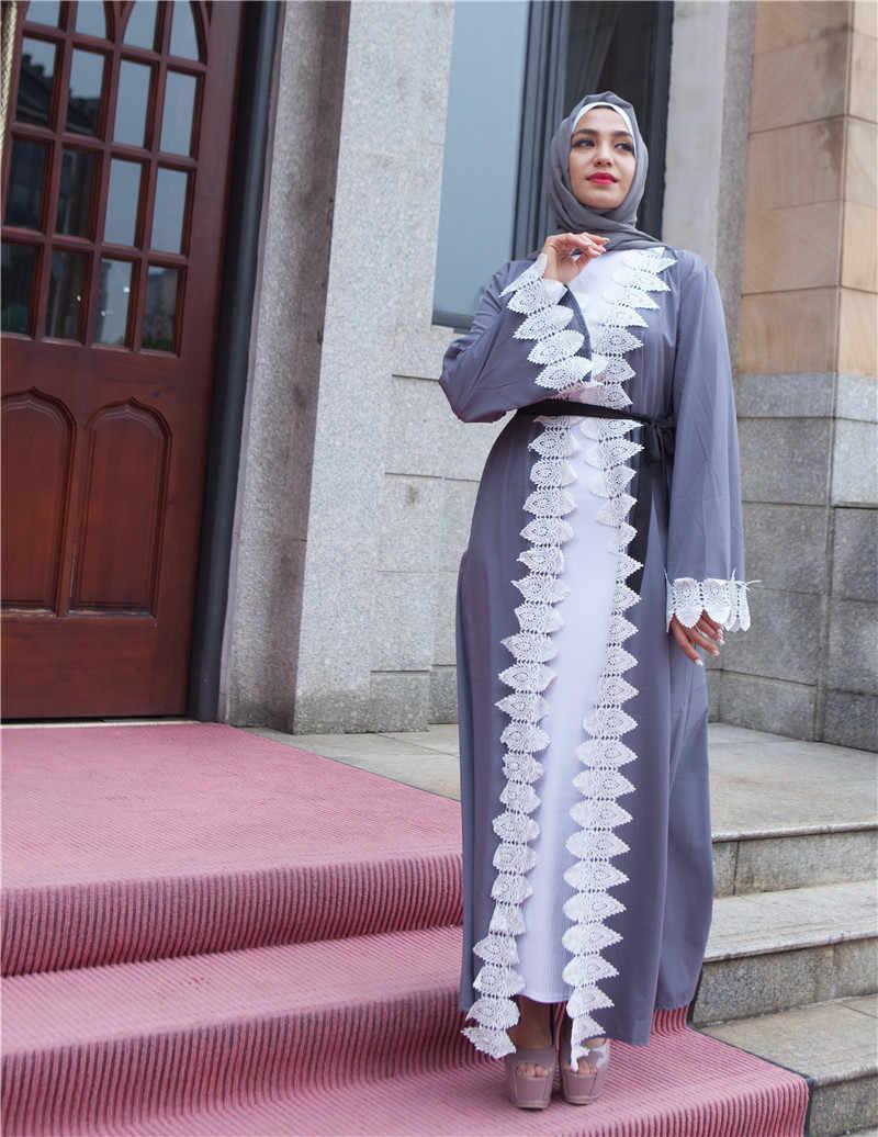 Серый Абая для женщин Дубай Бандажное пальто мусульманский кафтан длинный кардиган Болеро хиджаб Исламская одежда Турецкий Бангладеш платок
