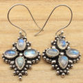 RAINBOW MOONSTONE Multi Stone Earrings ! Silver Plated COMBINED SHIPPING Jewelry 4.1 cm