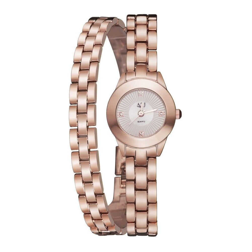 Marca de Luxo de Ouro Pulseira de Relógio de Senhoras Relógio de Pulso à Prova Asj para Mulheres Relógios Rosa Moda Casual Quartz d' Água Reloj Mujer Top