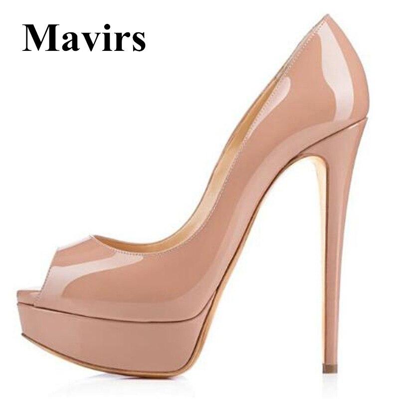 MAVIRS Brand Platform High Heels 2018 Supper Discount Christmas Promotion Limited Number Fashion Peep Toe Stilettos Women Pumps promotion women