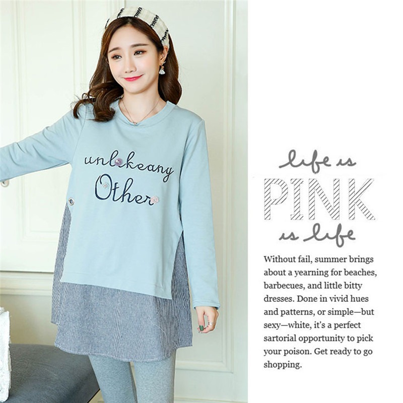55bc8312b963c Pregnant Women Clothes Long sleeved T shirt Loose Cotton Korean Version  Fashion Shirt Maternity Wear Dress for Maternity Women-in Dresses from  Mother & Kids ...