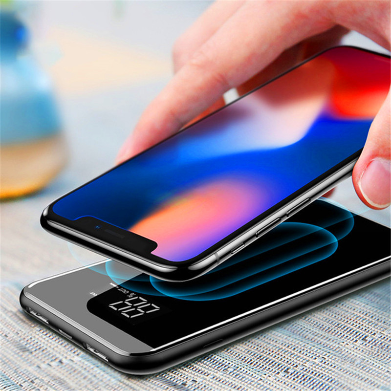 Qi Wireless Charging Power Bank 20000 mah Tragbare Ladegerät Lade Power Bank Digital Display Externe Batterie Pack 4 In 1