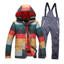 Free shipping Winter Snowboarding men's Windproof outdoor Ski Jackets+Pants Warm Breathable Clothes Set Sportswear high quality