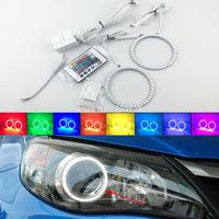 عدة عيون ملائكة LED RGB 7 ألوان ساطعة مع جهاز تحكم عن بعد لتصفيف السيارة لـ Impreza WRX STI 2007 2008 2009 2010 2011-في مجموعة مصابيح السيارة من السيارات والدراجات النارية على