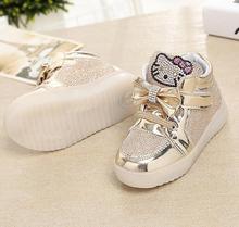 2017 hello kitty baby shoes девушки принцесса shoes горный хрусталь свободно облегающие детские спортивные shoes дышащий shoes 21-30
