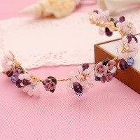 Joyería popular hecho a mano de la perla púrpura de la flor del pelo accesorios tiaras corona nupcial de la boda venda de la manera suave las mujeres casco
