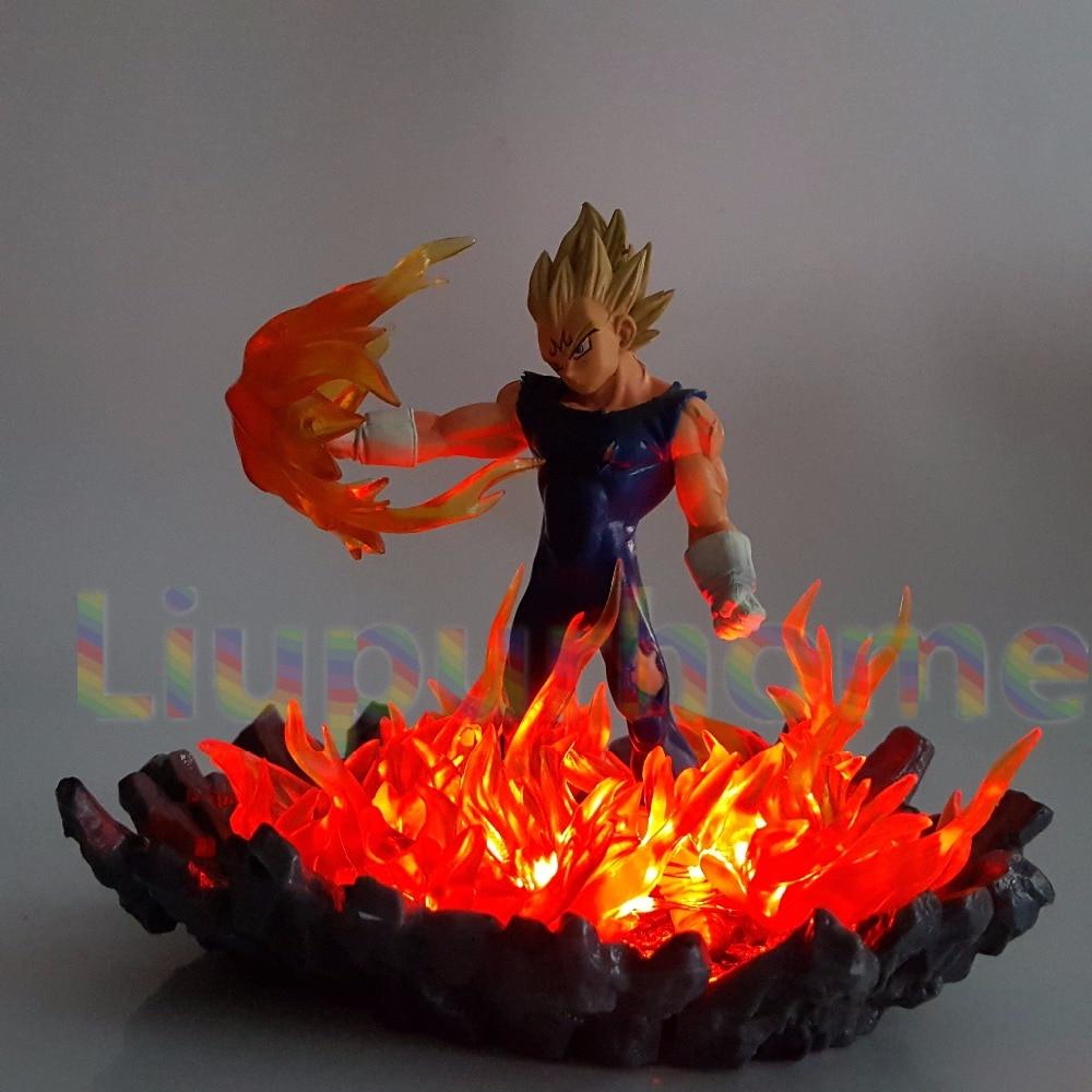Dragon Ball Z Vegeta Super Saiyan iluminación Led bombilla Base de fuego Dragon Ball Super Goku Vegeta luces nocturnas