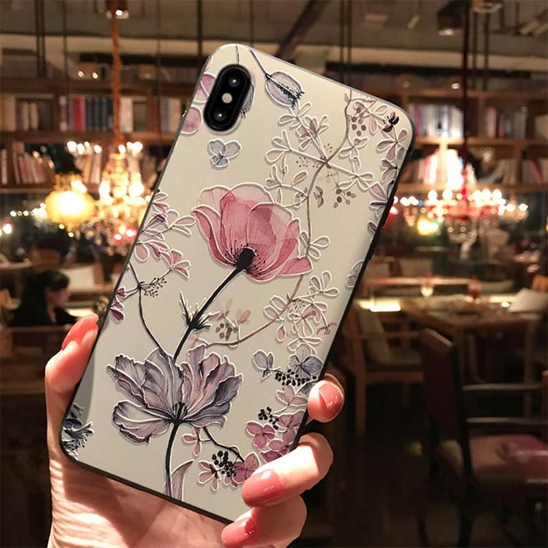 3D Emboss Flower Case For Samsung Galaxy A50 A30 A40 A70 S6 S7 Edge S8 S9 S10 S10e A5 A6 A7 A8 Plus 2018 M10 M20 Note 4 8 9 Case