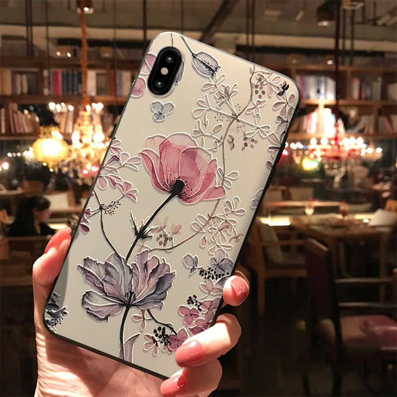 3D Emboss Flower Case For Samsung Galaxy A50 A40 A51 A70 A71 S6 S7Edge S10e S8 S9 S10 S20 Ultra Plus A7 A8 2018 Note 8 9 10 Case