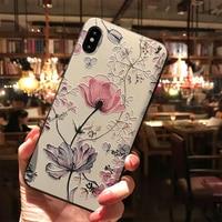 3D relieve flor caso para Samsung Galaxy A50 A30 A40 A70 S6 S7 borde S8 S9 S10 S10e A5 A6 A7 A8 Plus 2018 M10 M20 Nota 4 8 9