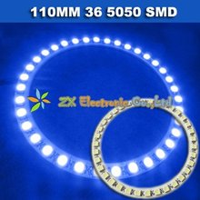 Free shipping + Wholesale + 5 pair /lot + Blue color Car headlight angel eyes eye halo rings light 110mm 36 5050 SMD led lamp