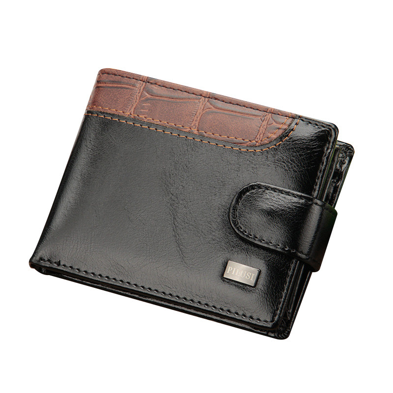 New Men Wallets Patchwork Leather Short Male Purse With Coin Pocket Card Holder Brand Trifold Wallet Men Clutch Money Bag
