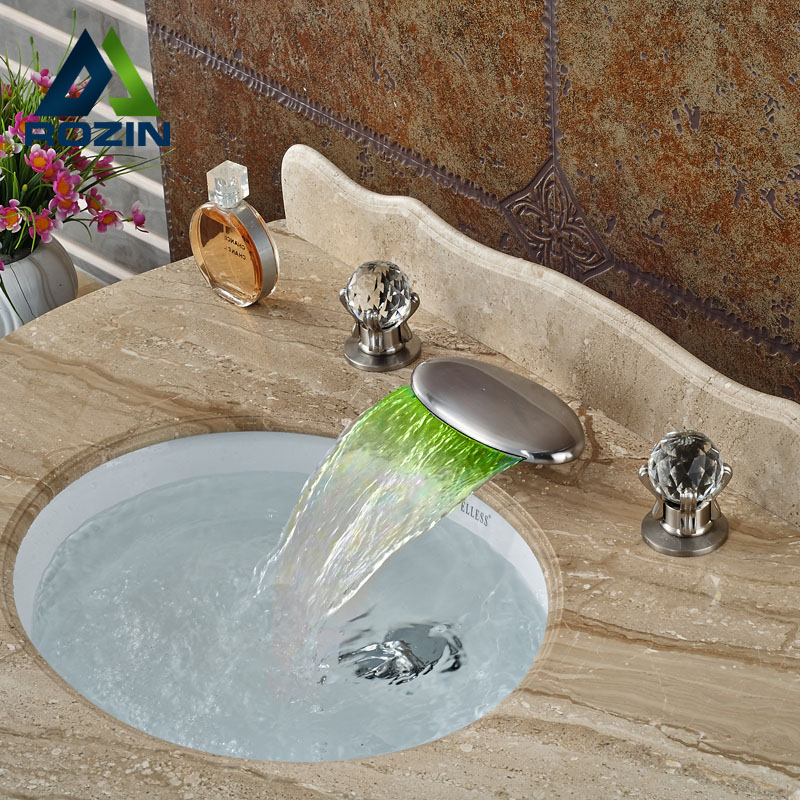 Waterfall Spout LED Light Widespread Bathroom Sink Faucet Chrome Two Handles Basin Mixer Tap
