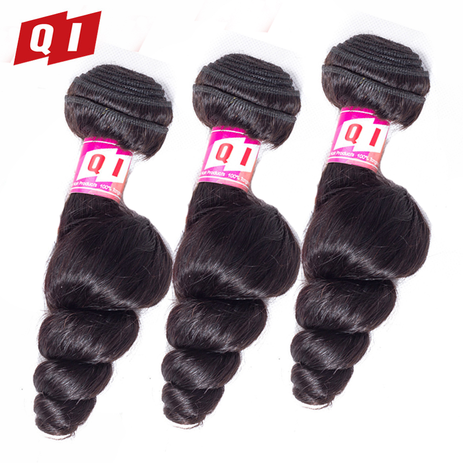 QI Hair Pre-Colored Hair Indian Loose Wave Hair 3 Bundles 100% Human Hair 100g/Pcs Extensions Non Remy Natural Color Hair