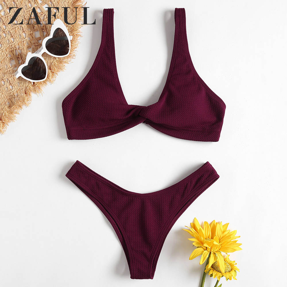 ZAFUL Bikini Textured Twist Front Bathing Suit Padded Wire Free Pullover Women Swim Suit Solid Sexy Low Waisted Swimwear 2019