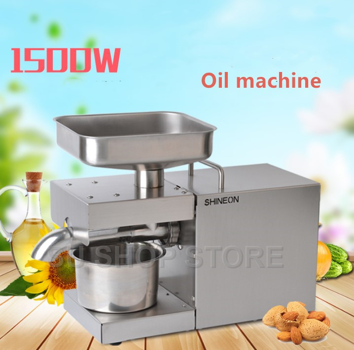 110 V/220 V automático de imprensa fria máquina de óleo, óleo de máquina de prensagem a frio, extrator de óleo de sementes de girassol, óleo de imprensa 1500 W