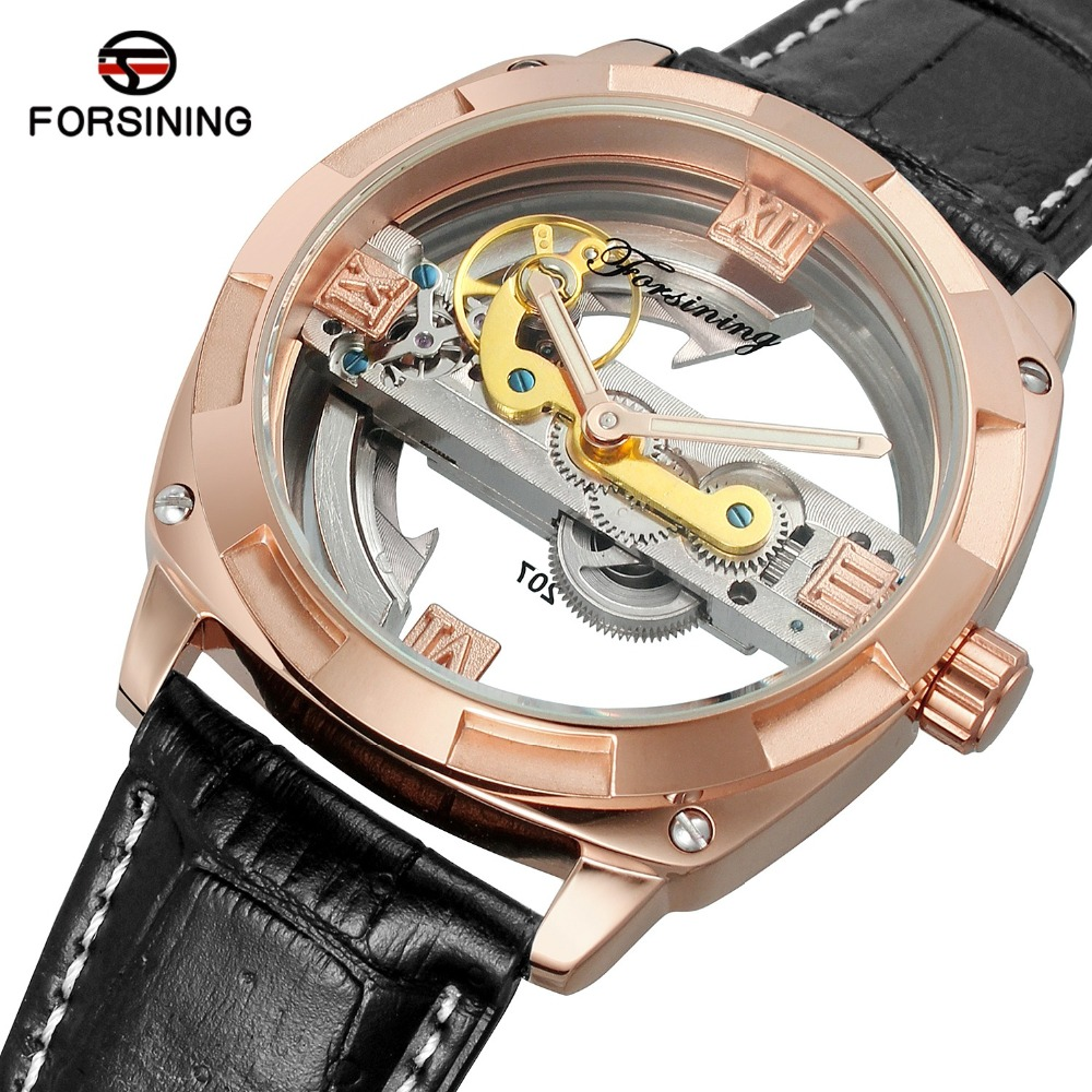 Forsining Black Rose Gold Automatic Mechanical Watch Men Transparent Wristwatch Male Business Watch Roman Numerals Display