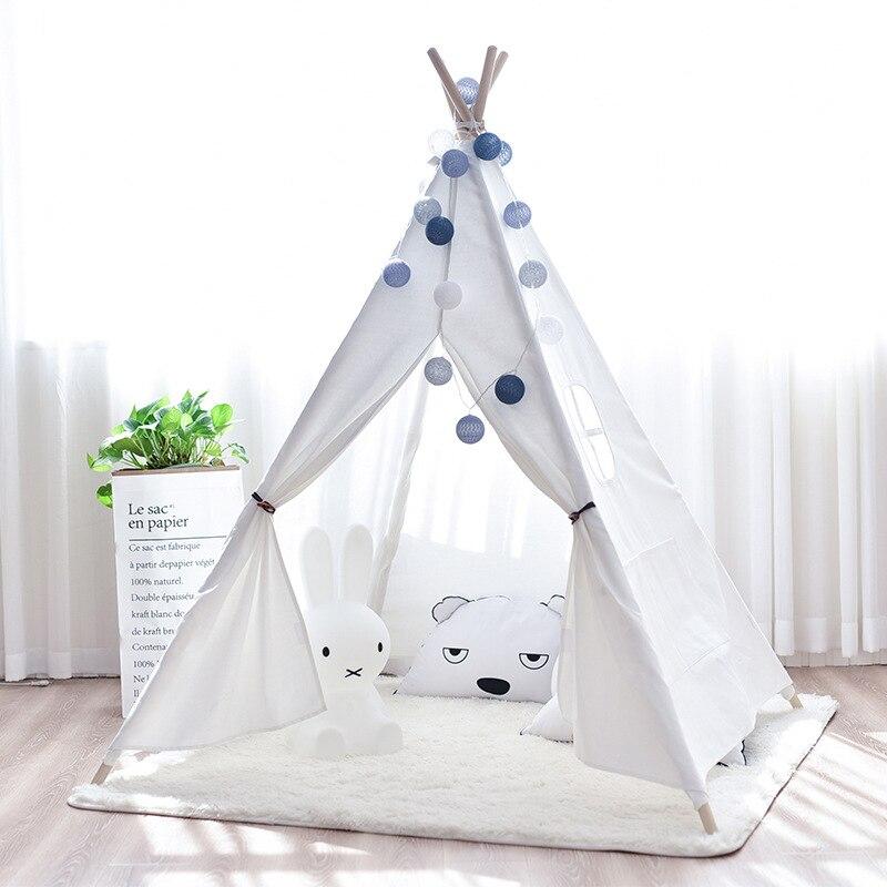 Tienda de lona Tipi niños tienda de campaña india princesa Casa de juego interior simulada Camping bebé habitación decoración regalo de cumpleaños - 4