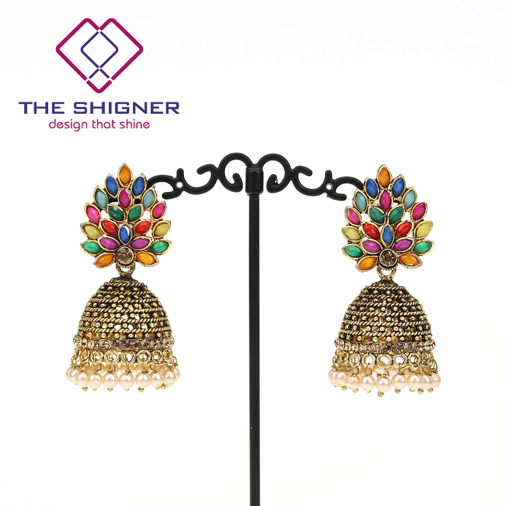 THE SHIGNER Indian Tradition Jewelry Bombay Fashion Stylish Fancy Party Wear  Colorful Stone Pearl Jhumki Jhumka Dangle Earrings-in Drop Earrings from ... c98659308c8c