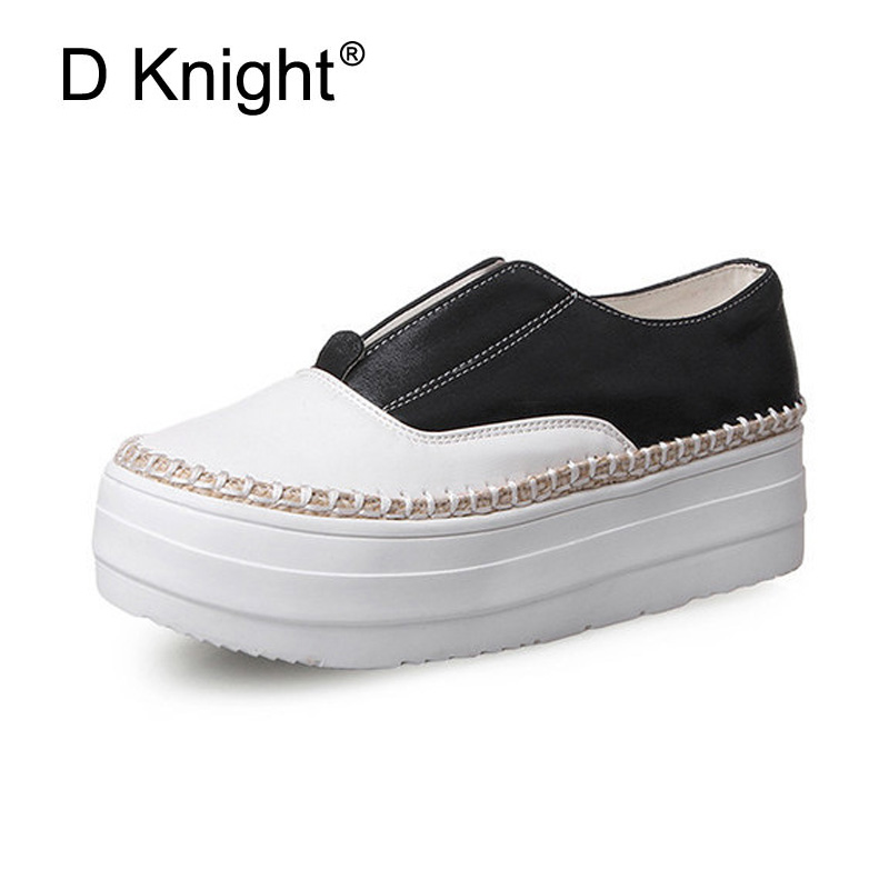 Women Shoes Casual Super Soft PU Leather Loafers Thick Bottom Slip on Spring Autumn Shoes Woman Plus Size 31-43 Student Creepers 2017 autumn and winter new plus velvet thick women s boots soft bottom comfortable breathable mother shoes wild leather