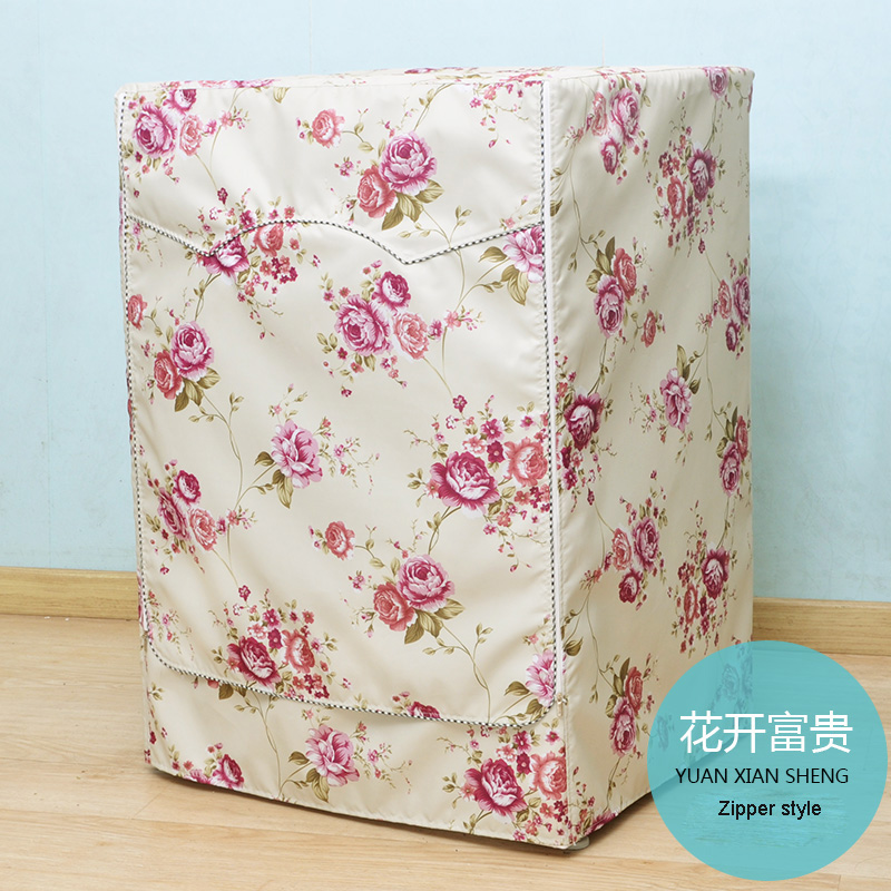Waterproof Sunscreen Cover For Washing Machine Dryer Cover Peony Pattern Drum Washer Universal Home Protective Cover